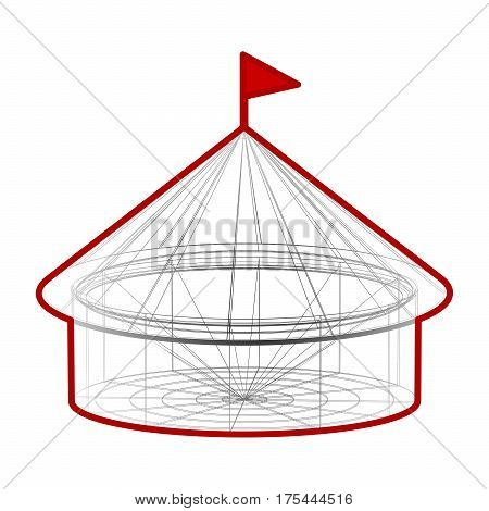 Circus tent in wireframe form. Vector illustration on white background