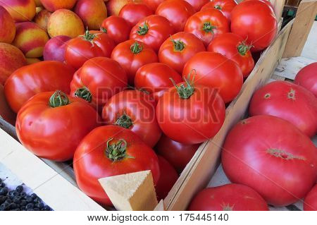 Fresh red tomatoes at the market in Bar-city, Montenegro