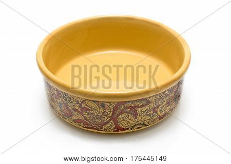 Empty ceramic bowl isolated on a white
