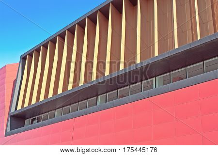 Abstract detail of modern building over blue sky