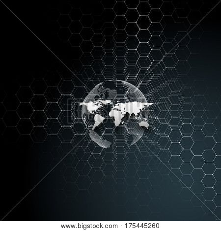 White dotted world globe, connecting lines and dots on black color background. Chemistry pattern, hexagonal molecule structure, scientific or medical research. Medicine, science, technology concept. Abstract design vector decoration.