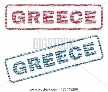 Greece text textile seal stamp watermarks. Blue, red fabric vectorized texture. Vector tag inside rounded rectangular shape. Rubber emblem with fiber textile structure.
