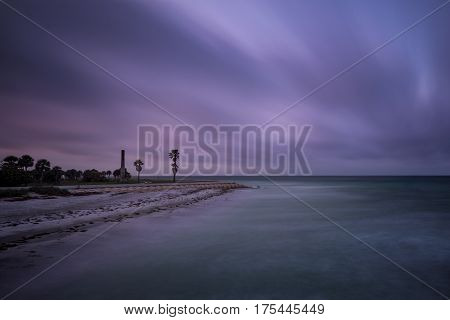 Long exposure of the blue magic morning on the beach located at Fort de Soto, Florda.
