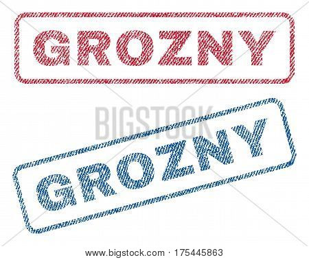 Grozny text textile seal stamp watermarks. Blue, red fabric vectorized texture. Vector tag inside rounded rectangular banner. Rubber sign with fiber textile structure.