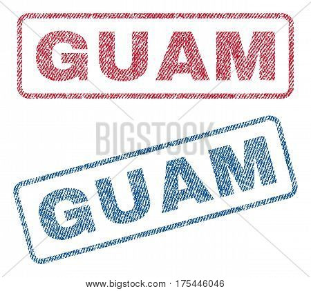 Guam text textile seal stamp watermarks. Blue, red fabric vectorized texture. Vector caption inside rounded rectangular banner. Rubber sign with fiber textile structure.