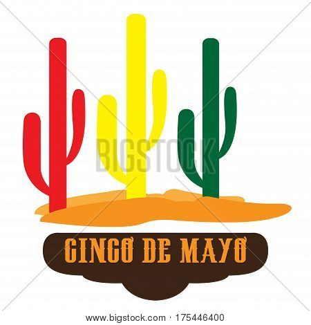 Isoated group of cactus, Cinco de mayo vector illustration