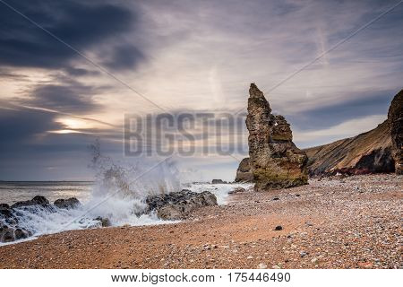 Chemical Beach Crashing Waves - Dawdon Chemical Beach got its name from the former Seaham Chemical Works and is located on the Durham coastline south of Seaham with its Magnesian Limestone Stack