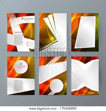 Design elements presentation template. Set vertical banners hot blurred background backdrop gradient glow effect. Vector illustration EPS 10 for brochure template business card layout flyer mockup