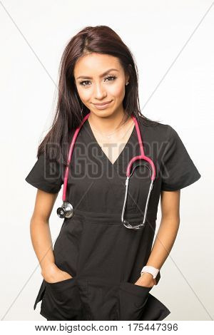 Medical woman wearing scrubs with stethoscope