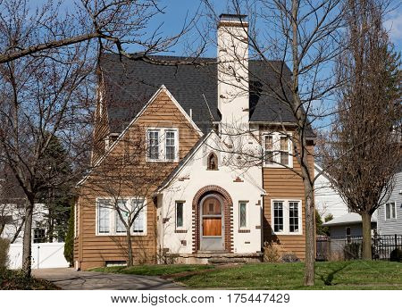 Brown Wood House with Fireplace Chimney
