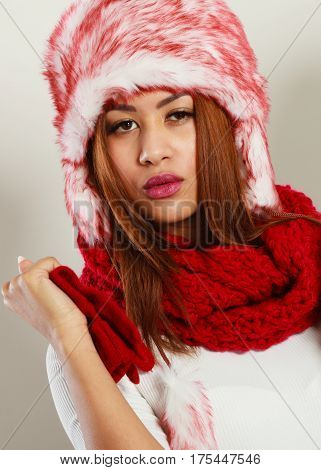 Mulatto Woman In Winter Outfit.