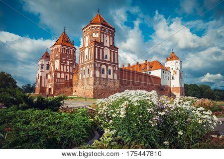 Belorussian tourist landmark attraction Mir Castle at summer season.