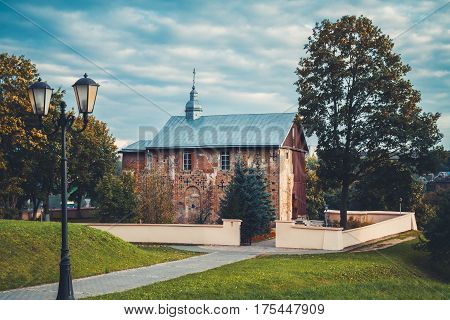 St. Boris and Gleb church. 12 th century building. Grodno city Belarus. Autumn landscape.