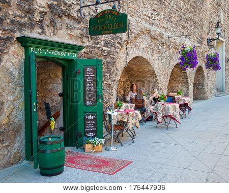 Tallinn, Estonia -  June 03, 2016: Outdoors Cafe In Old Town Of Tallinn, Estonia.