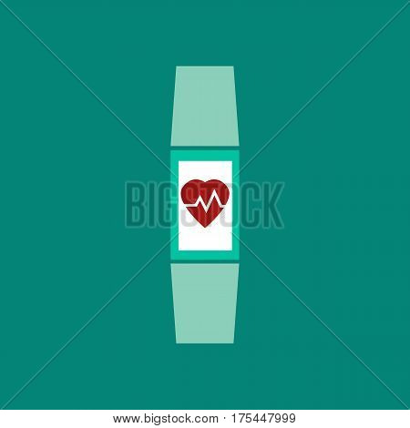 Fitness bracelet icon. Freehand drawn flat style. Tracker with heart rate monitor function. Vector illustration of smart hand band with electronic screen display. Strap rubber watch for sport isolated