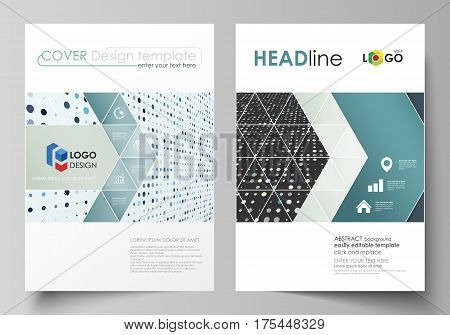 Business templates for brochure, magazine, flyer, booklet or annual report. Cover design template, easy editable vector, abstract flat layout in A4 size. Abstract soft color dots with illusion of depth and perspective, dotted technology background. Multic