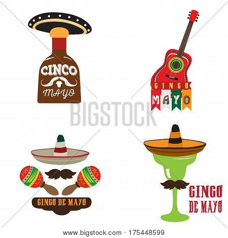 Set of cinco de mayo related objects, Vector illustration