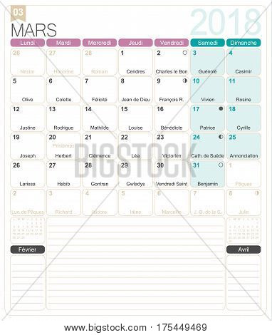 March 2018, French printable monthly calendar template, including name days, lunar phases and official holidays.