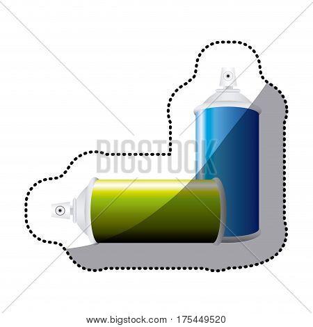 sticker colorful set aerosol spray bottle vector illustration