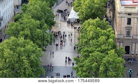 Las Ramblas, Walking People, Barcelona Park, Spain