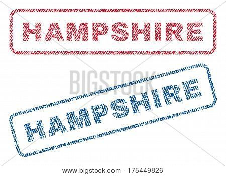 Hampshire text textile seal stamp watermarks. Blue, red fabric vectorized texture. Vector caption inside rounded rectangular shape. Rubber sticker with fiber textile structure.