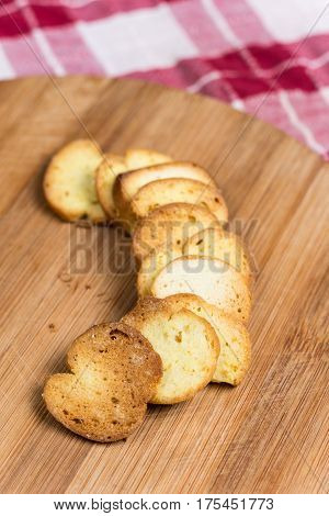 Saulty Crispy Little Toast Breads On The Wooden Board