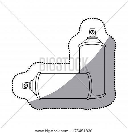 sticker contour set aerosol spray bottle icon flat vector illustration