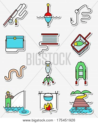 Fishing hobby icons set in line art thin and simply colorful style. Collection of minimalistic signs with fisherman with rod tacle fish worm landscape with lake and pier net bobbin with reel inflatable boat with oars hook and float illustration