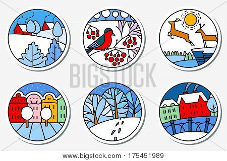 Winter urban and nature landscapes icons set in thin simply line style. Round pictogram. City street cute deers bird on the rowan branch facades of buildings in bright colors