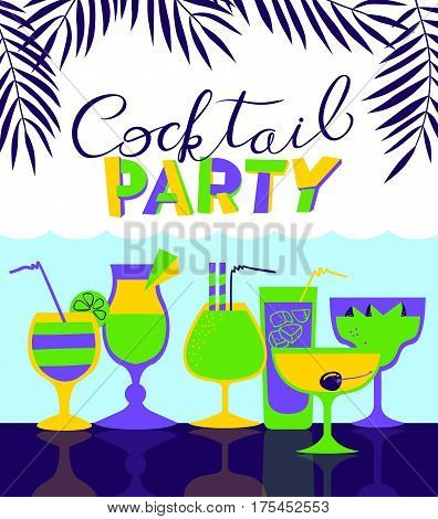 Cocktail party holiday invitation. Background for night club or alcohol bar menu. Cocktail party lettering in cute style. Backdrop with summer sea and palms. Vector illustration with cocktail glasses