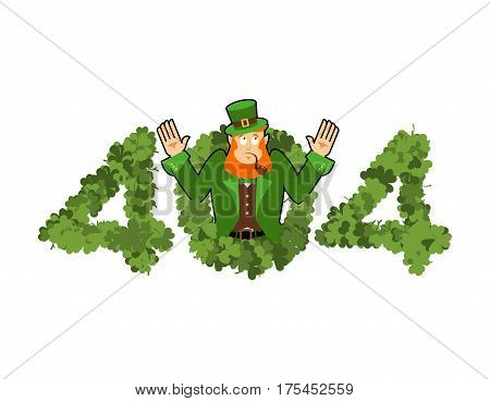 Error 404. Leprechaun Is Surprise. Page Not Found Template For Web Site. Irish Dwarf Does Not Know A