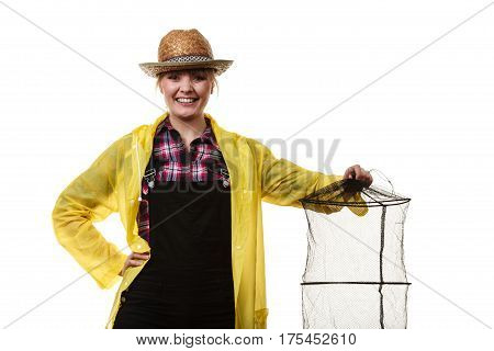 Happy Woman Holding Empty Fishing Keepnet