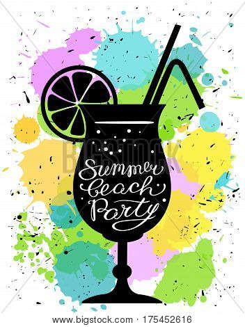 Summer beach party calligraphic lettering. Cocktail glass silhouette with tubes and lemon decoration on watercolor splashes background. Vector illustration