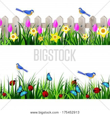 Green Grass and white wooden fance seamless isolated clip art vector on white with rose tulips and yellow daffodils and bluebirds set
