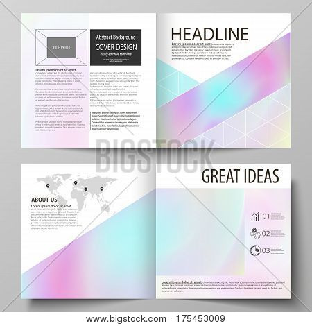 Business templates for square design bi fold brochure, magazine, flyer, booklet or annual report. Leaflet cover, abstract flat layout, easy editable vector. Hologram, background in pastel colors with holographic effect. Blurred colorful pattern, futuristi