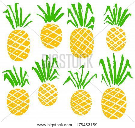 Set with pineapples. Vector isolated fruits with hand drawn ink leaves. Vegetarian fresh food collection with pineapple.