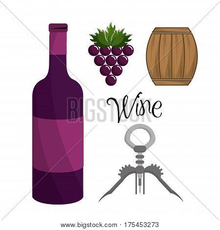 bottle of wine, grape, barrel and take out cork, vector illustration