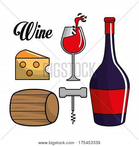 glass, bottle of wine, barrel, cheese and take out cork, vector illustration