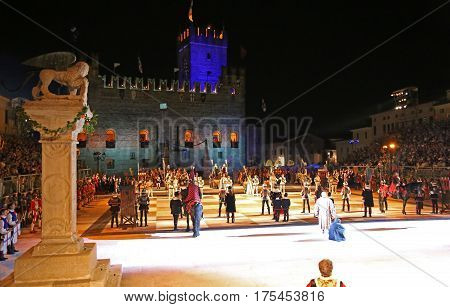 Marostica, Vi, Italy - September 9, 2016: Human Chess Game With