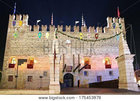 Marostica, Vi, Italy - September 9, 2016: Medieval Castle With D