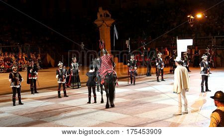 Marostica, Vi, Italy - September 9, 2016: Famous Chess Game With