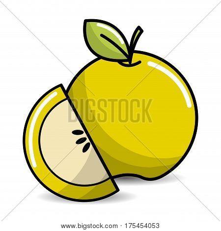 green apple fruit icon stock, vector illustration design