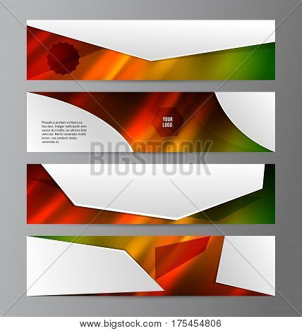 Set Design elements business presentation template. Vector illustration horizontal web banners background backdrop abstract form broken line. EPS 10 for web buttons template web site page heading