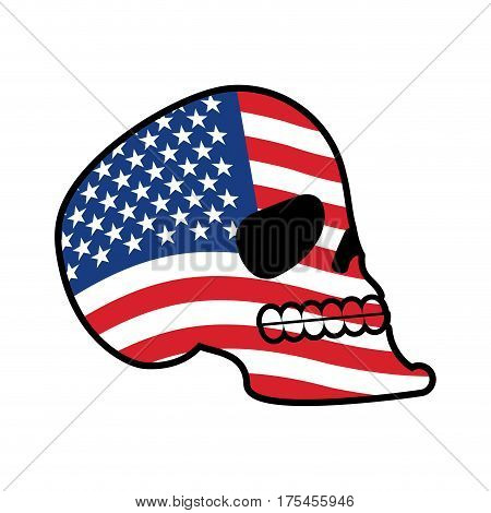 Usa Skull. Head Of Skeleton And Flag Of America. Fun Emblem