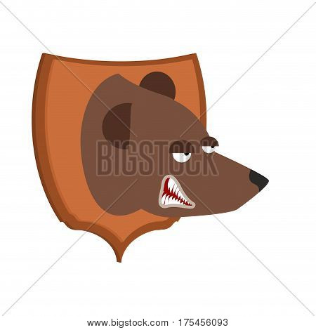 Bear Hunter Trophy. Grizzly Head On Shield. Scarecrow Wild Beast