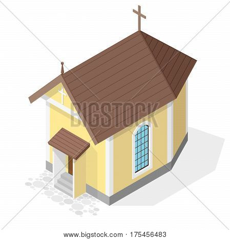 Vector Christian small church in isometric perspective, isolated on white background. Religious rural architecture. Building worship of God. Religion yellow Baroque church with red roof and crucifix.