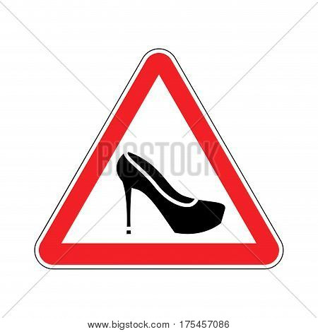 Attention Woman. Red Prohibitory Road Sign Women's Shoes.