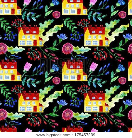 Home Sweet. Watercolor seamless pattern of the house, flowers, berries leaves Texture for wrapping paper, textiles, home decor, skins smartphone background textile wallpaper, surface design, fashion