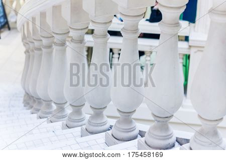 White Balusters. Abstract Classical Architecture Interior Fragment