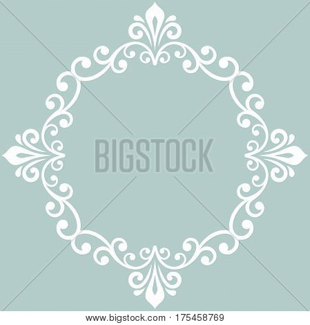 Oriental vector light blue and white round pattern with arabesques and floral elements. Traditional classic ornament. Vintage pattern with arabesques